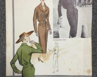 50s Vogue Paris Original Dress Pattern 1280 - Jacques Fath - Bust 36 - Hip 39