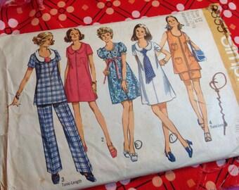 Vintage Simplicity Pattern 8855, 70's pattern,maternity pattern,  pants, top, dress