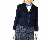 Vintage Short Jacket - 60s Navy Wool Challis Suit Jacket for Spring - Classic Chanel Influence