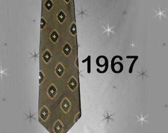 Men's Vintage 60s Necktie - Classy Black & Gold Tie with Fleur de Lis