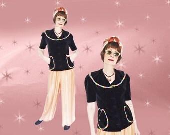 1940s Black Velvet Jacket - Vintage 40s Tunic Top - Short Sleeves