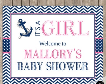 Nautical Girl Baby Shower Welcome Sign, Personalized  Welcome Sign, Baby Shower Personalized Sign, Welcome Sign, 8x10 Sign
