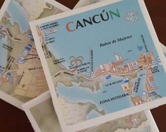 Cancun Drink Coasters, Road Map...Full Cork Bottoms...For Drinks and Candles