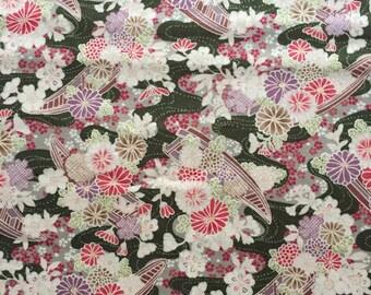 Japanese Kimono design fabric One  yard moss green colour