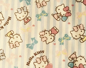 Hello kitty with stripe design fabric One yard blue colour