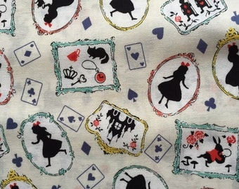AUG special 1 yard Alice in wonderland fabric cream white color Japanese fabric