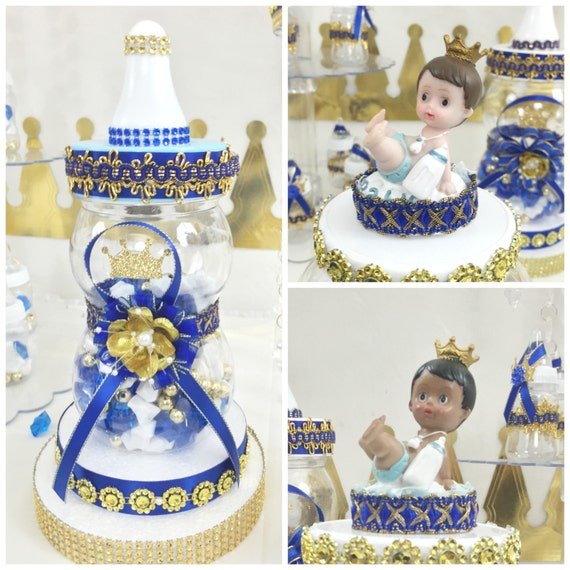 Blue Baby Shower Candy Buffet Part - 29: Royal Prince Baby Shower Candy Buffet Diaper Cake Centerpiece With Baby  Shower Favors / Boys ROYAL BLUE And GOLD Prince Theme Decorations
