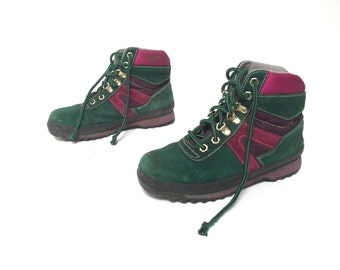 vintage timberland style women's hiking BOOTS green suede LEATHER vintage 80s 90s booties shoes
