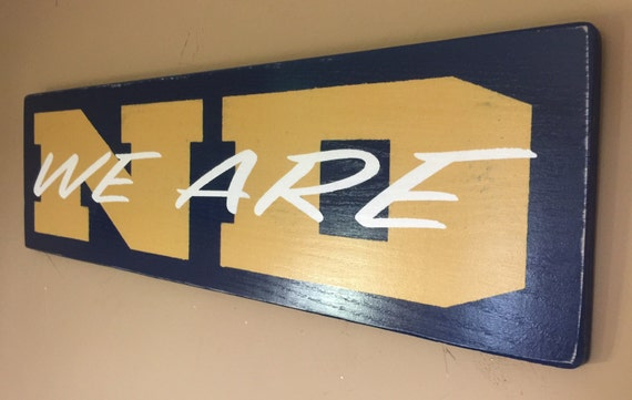 """We Are ND hand painted on wood sign 36"""" x10"""" distressed finish"""