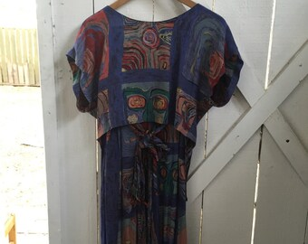 Amazing 1980s vintage abstract print 2 piece cropped boxy high low top & high waist wide legged pants set small