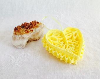 Yellow Heart Ornament, Unique Handmade Filigree Heart Decorative Sugar Ornament for Valentines, Weddings, Anniversaries & All Occasions