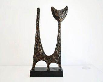 Abstract Cat Sculpture Faux Bronze Mid century Modern Art