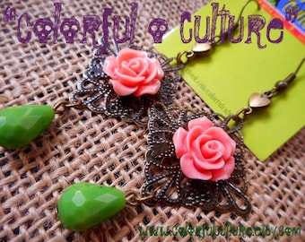 Pink Resin Roses and Green Crystal Drop Beads- Mexican Earrings / Jewelry by Laura Gomez