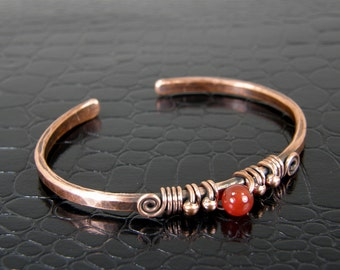 Carnelian & Copper Wire Bangle, Antiqued Copper and Carnelian Gemstone Bangle Size 6-1/4