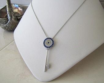 CZ Evil Eye Key Sterling Silver Necklace