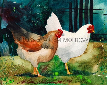 White Brown Golden Chicken Farm Digital Art Print of Watercolor Painting of Yard Birds Instant Download Wall Decor Artwork Image Picture