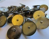 """28 shell buttons with silver metal center 5/8"""" buttons (18mm) metal shank, quantity 28 large button lot"""