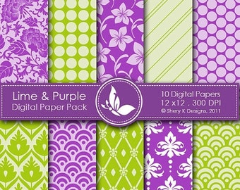 50% off Lime & Purple Paper Pack - 10 Printable Digital papers - 12 x12 - 300 DPI