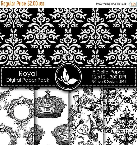 50% off Printable Royal Paper Pack 5 - 5 Digital papers - 12 x12 - 300 DPI