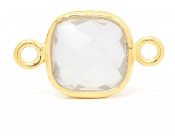Green Amethyst Gemstone Bezel Connector Gold Plated Sterling Silver 8mm- 1pc  Good Quality Wholesale price (7972)/1