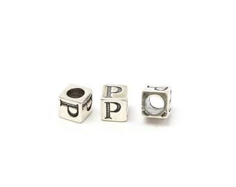 Alphabet Beads Sterling Silver 6mm Alphabet Blocks P - 1pc (3209)/1