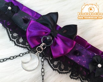 Gothic Spiked Galaxy Kitten Play Collar, Kitten Play Collar, Pet Play Collar, Choker, Adult Kitten Play Collar, BDSM Collar