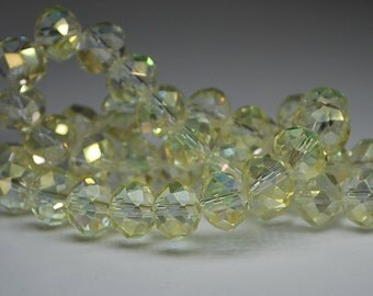 12 pcs 10x8mm Transparent Pale Yellow Jonquil AB Rondelle Faceted Glass Beads