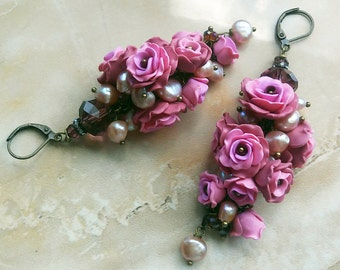 Cluster earrings,polymer clay flowers,rose earrings,dusty rose,flower earrings