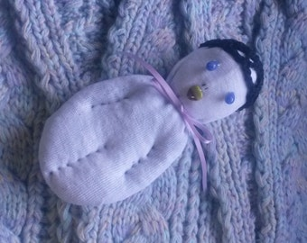 White Sock Doll Stuffed With Real Lavender Heart Blue Stone Eyes Green Stone Heart Mouth