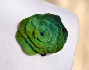 Felt flower, brooch, flower,  beads, green