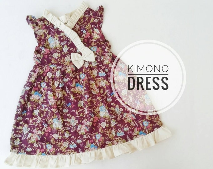 Kimono Dress, Floral plum Dress for toddler and little girls, Toddler Kimono Dress