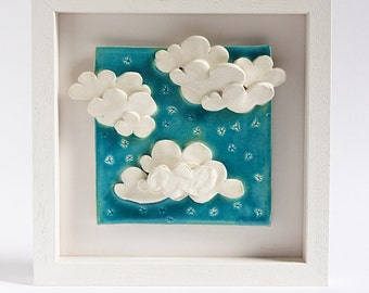 ceramic tile, decorative wall art for kids, unique pottery home decor, On Cloud Nine, white, turquoise blue ceramic wall art, new baby gift