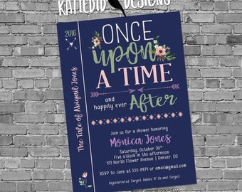 tribal baby shower invitation BOHO once upon a time storybook arrow gender neutral gender reveal 1381 aztec navy shabby chic invitations