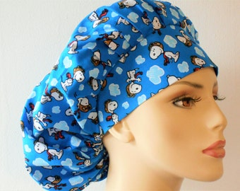 Scrub Hats Medical Scrub Hat Snoopy In The Clouds All Over Bouffant Scrub Hat Snoopy the Red Baron