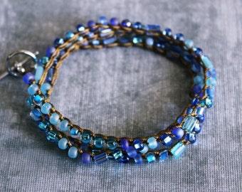 bohemian bracelet, blue bracelet wrap, stacking bracelet, double wrap bracelet, stackable bracelet, beaded jewelry, friendship bracelet