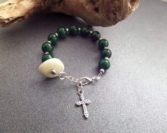 Green Rosary Bracelet, Christian Jewelry, Scottish Iona Marble, Pocket Rosary, Protection Jewelry, Small Bracelet