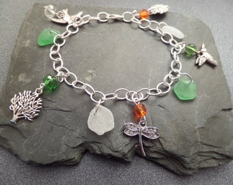 Irish Sea Glass Charm Bracelet in Green White and Orange, Bird Charms, Jewelry from Ireland, Nature Bracelet,