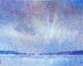 ACEO Original watercolor painting - Foggy morning