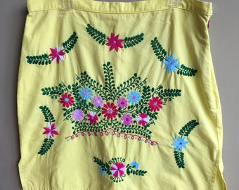 Vintage Mexican Skirt Yellow Embroidered Florals Hippie Boho Repurposed