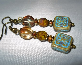 Czech Glass Earrings Amber Melon Pumpkin Copper/Yellow Picasso Bead with Turquoise & Beige  Rectangle