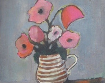 """Original Acrylic Painting - pink flowers in striped vase, Still Life Painting on canvas board 11""""x14"""""""