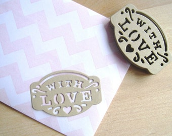 """24 Kraft """"With Love"""" Tags - Set of 24 - Gift Tags, Rustic Gift Labels, Tag Wedding Favors, Tags Wedding Gift, Jam Labels, Wedding Favors"""