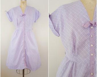 Vintage 1950s Dress / Purple Plaid / Cotton Day Dress / Medium Large