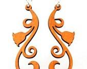Tulip Scroll - Wood Earrings