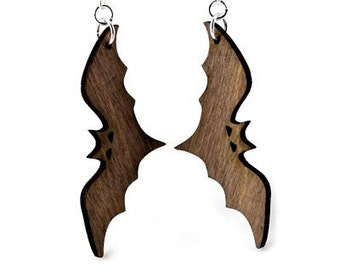 Bat Earrings - Halloween - Cut from Sustainable Reforested Wood