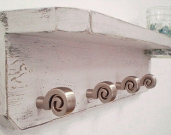 Wall shelf with Hooks, Jewelry holder spiral knobs, Very Pale Lavender