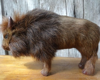 Vintage French faux taxidermy bison with rabbit fur figurine statue trophy circa 1960-70's / English Shop