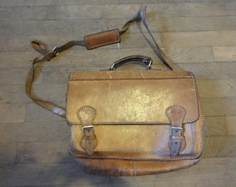 Vintage English Leather Brown Satchel Attache Briefcase Carry Bag Holdall Carrier circa 1980's / English Shop