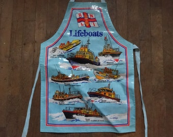 Vintage English Cotton Coated PVC RNLI Lifeboat Apron Cooking Kitchen Collectable circa 1970-80's / English Shop