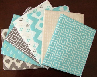 Cove Fat Quarter Bundle of 7 in Teal & Taupe Grey by Camelot Design Studio